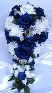 wedding flowers royal blue 21pc bridal bouquets wedding silk flower royal silver white