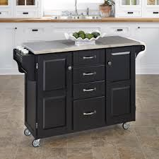 kitchen island cart stainless steel top home styles create a cart large cart black finish with stainless