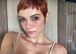 super short dark auburn pixie cut with super short bangs for fine