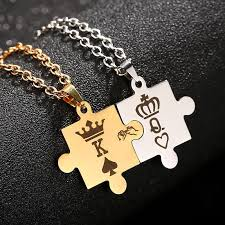stainless steel puzzle necklace images King and queen puzzle necklace set jpg