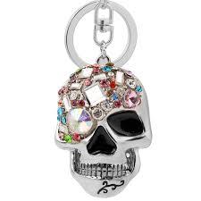 metal skeleton ring holder images Easya evil skull keychain multi color rhinestone unique jewelry jpg