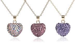 swarovski crystal necklace gold images 14k solid gold heart pendant necklace made with swarovski elements jpg