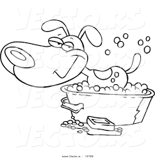 vector of a cartoon happy dog bathing in a tub coloring page
