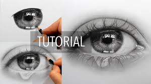 how to draw shade a eye with teardrop by