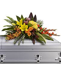 casket spray island memories casket spray sympathy arrangement teleflora
