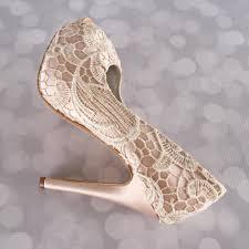 wedding shoes toe blush platform peep toe wedding shoes with ivory crocheted lace