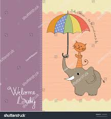 baby shower card funny elephant little stock vector 118760866