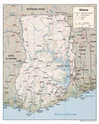 Ghana Africa Map Large Detailed Political Map Of Ghana With Relief Roads