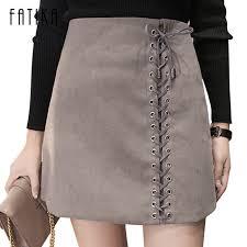 fatika women leather suede a line mini skirt 2017 spring autumn
