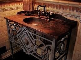 integrated sink vanity top custom hammered copper vanity top w integrated sink and rustic metal