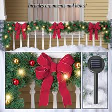 large lighted christmas bow decorated solar lighted christmas garland from collections etc