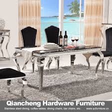 china 2016 modern glass dining table and stainless steel dining