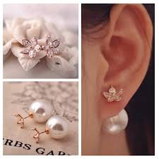 store stud earrings fashion brand jewelry side pearl stud earrings for
