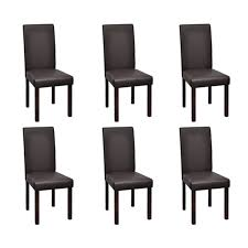 chaise coloniale lot de 6 chaises de salle à manger simili cuir marron interougehome