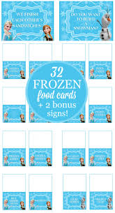 32 frozen party food card printables free bonus signs