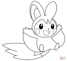 emolga pokemon coloring page free printable coloring pages