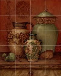 tuscan urns ii tile mural