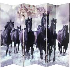 Canvas Room Divider 6 Ft Tall Double Sided Horses Canvas Room Divider Roomdividers Com