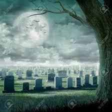 halloween creepy background halloween design spooky tree horror background with cemetery