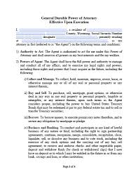 Texas Financial Power Of Attorney Form by Wyoming Limited Special Power Of Attorney Form Power Of