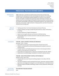 Sample Of A Teacher Resume Preschool Teacher Resume Samples Templates And Tips