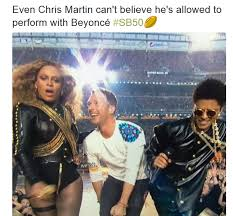 Chris Martin Meme - chris martin upstaged by beyonce during super bowl halftime show