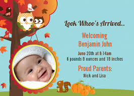 owl fall theme or photo birth announcement cards