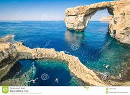 Azure Window by The World Famous Azure Window In Gozo Island Malta Stock Photo