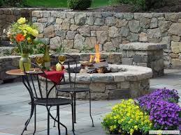 Fire Pits For Patio Rock Walls Landscaping Stone Fire Pit On Bluestone Patio With