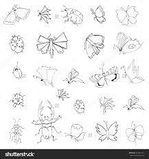 collection hand drawing insects cute set stock illustration