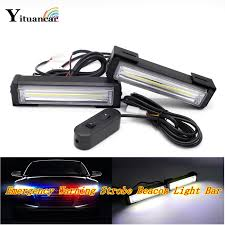 cob led light bar yituancar 2x 40w cob led strobe flash warning car light remote