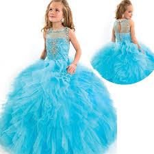 2016 ball gown kids wedding dresses beading puffy junior