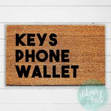 keys phone wallet doormat welcome mat door mat outdoor