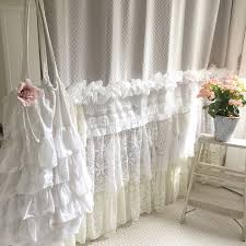 Shabby Chic Voile Curtains Shabby Cottage Chic Shower Curtain Grey Lace By Farmhousefare