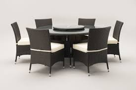 sidney 6 seat brown round table with dining chairs oakita rattan