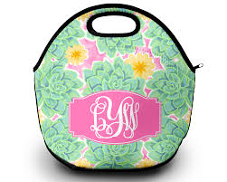 monogram lunch bag succulents sassy southern gals