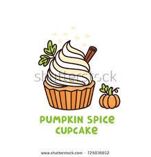 pumpkin spice cupcake small stock vector 724475758