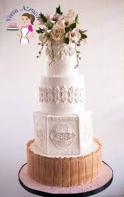 burgundy stenciled wedding cake with vintage roses veena azmanov