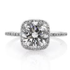 Cushion Cut Halo Diamond Engagement Ring In Platinum 2 66ct Round Brilliant Cut With Cushion Halo Diamond Engagement