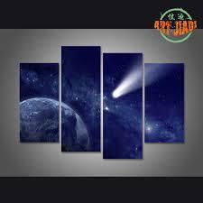 comet approaching planet earth 4 pieces sets canvas art canvas