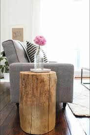 creative design of tree trunk side table for home decoration