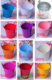 cute baby shower wedding favor tin candy metal buckets mix colored