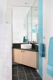 Corner Bathroom Mirror Corner Vanity Sink Powder Room Modern With Bathroom Mirror Blue