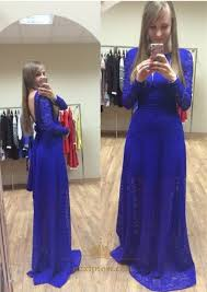 royal blue long sleeve backless floor length lace prom dress with