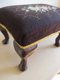Shabby Chic Footstool by Vintage Needlepoint Footstool Vintage Needlepoint Foot Stool