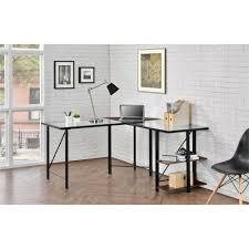 ameriwood furniture cruz glass top l desk cherry