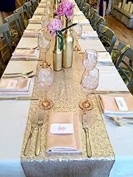 table runners wedding amazlinen tm premium quality chagne gold glitz sequin table