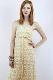 vintage 70s cream scalloped lace hippie wedding dress s by shopebv