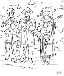 sacagawea with lewis and clark coloring page free printable
