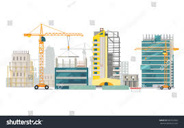 unfinished buildings set industrial cranes process stock
